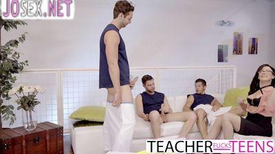 Cute guys students staged a Gangbang for the teacher.