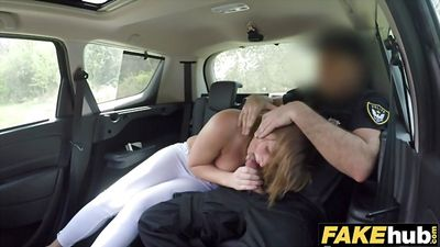 Fake COP Fucks the redhead in the car and in the barn....