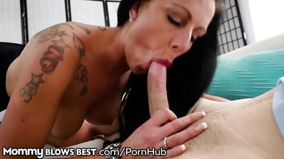 Insatiable stepmom sucks fat cock of her stepson.
