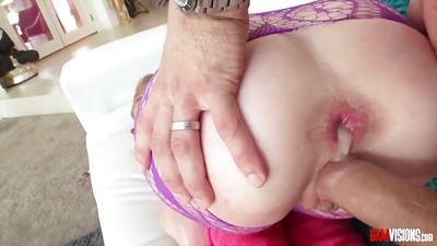 Man put dick in anal, Arya Fae and Dildo in pussy.