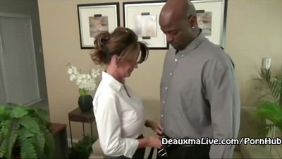 Mature lady with big Tits Fucks black boss