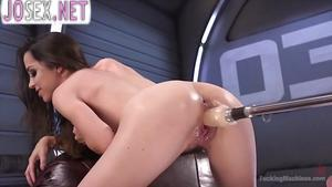 Skinny brunette with hairy pussy gets fucked with a sex mach...