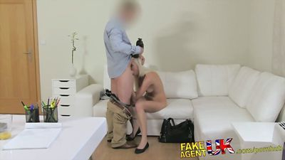 Slender blonde casting cum with squirt...