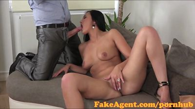 Tanned Kazakh girl gets fucked on the casting with the produ...