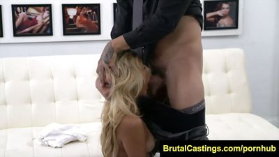 Tanned babe gets fucked on the casting with the male....