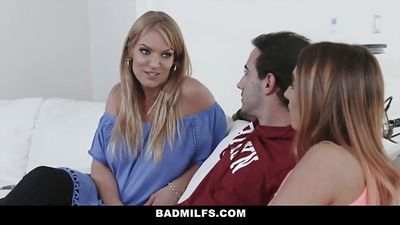 The stepson huge cock and stepmom teaches to fuck girls...