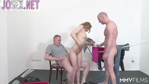 Two bald guy fuck hot blonde